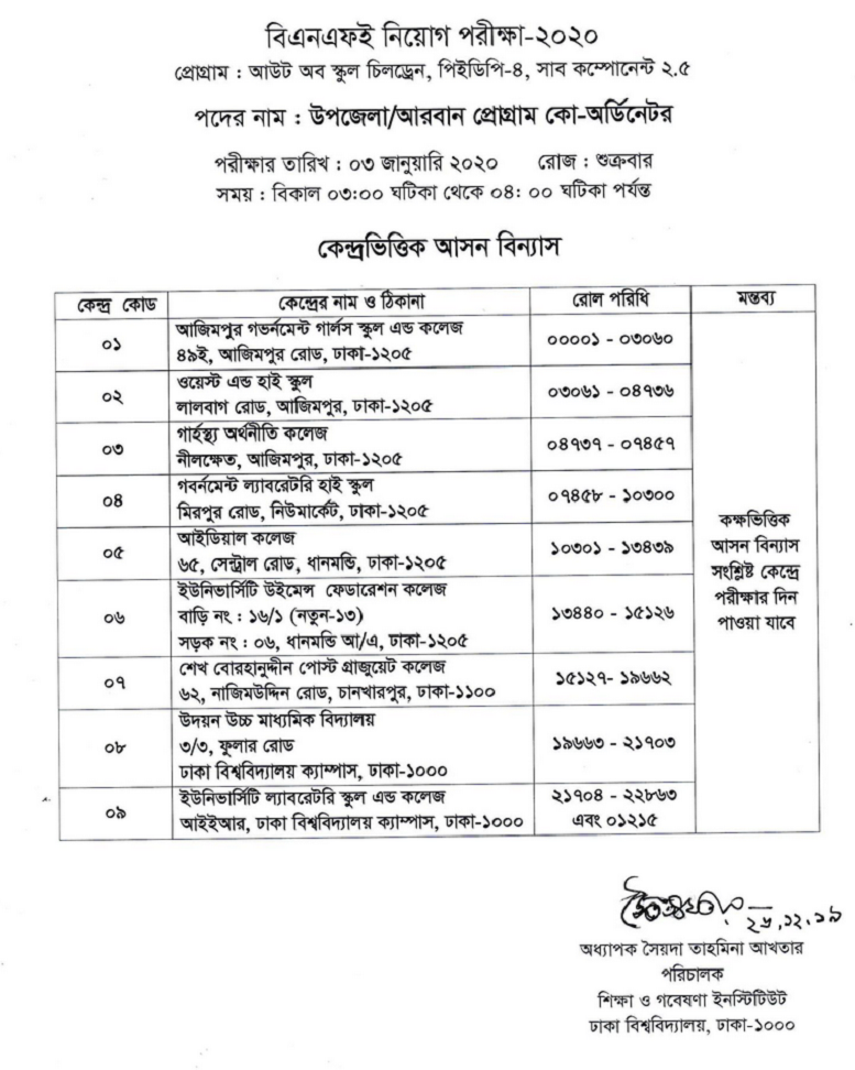 Institute of Education and Research (IER) Exam Date & Seat Plan