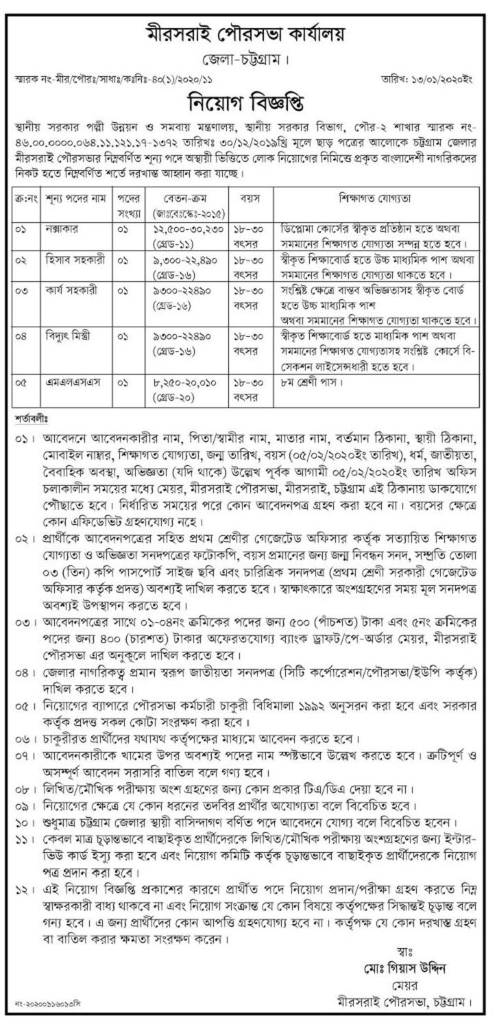 MirsaraiMunicipality Job Circular 2020