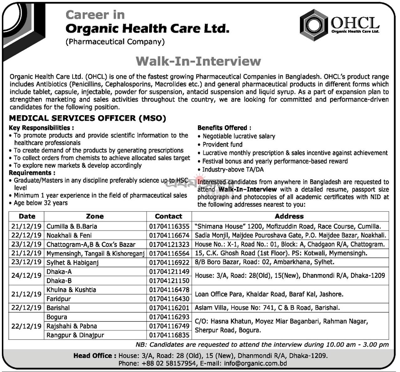 Organic Health Care Limited Job Circular 2019