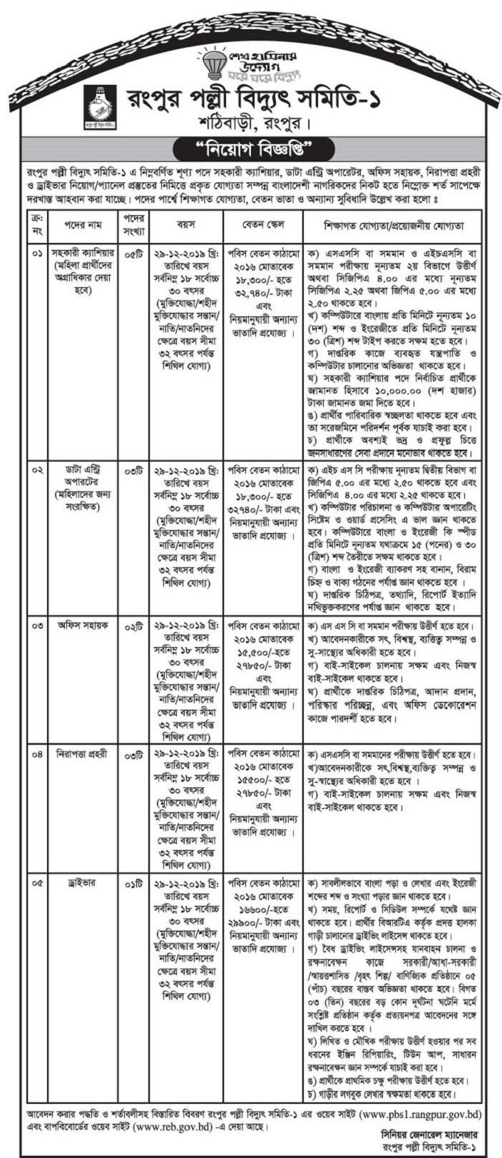 Rangpur Palli Bidyut Samity Job Circular 2020