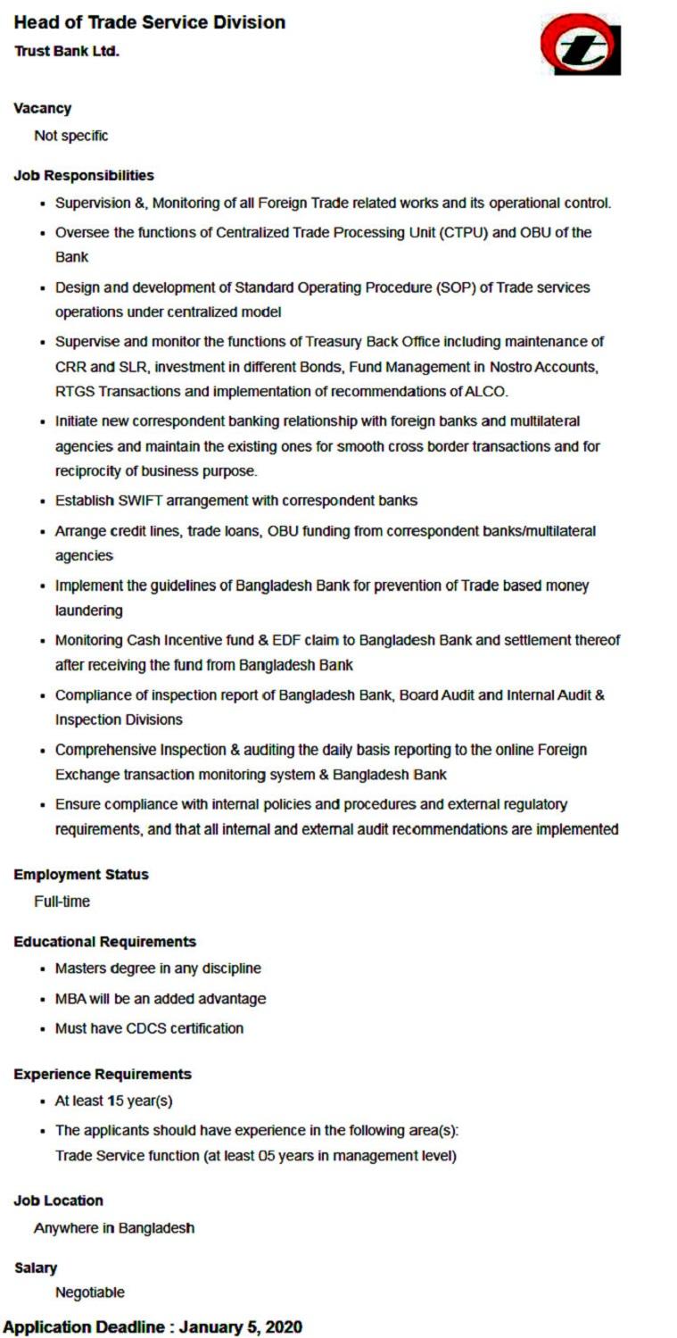 Trust Bank Job Notice 2020