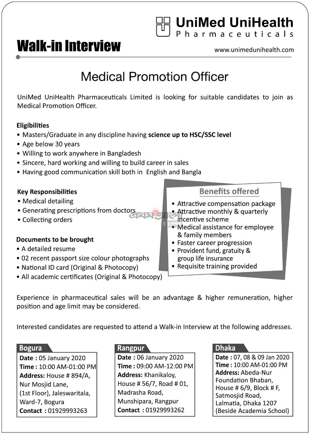 Unimed Unihealth Pharmaceuticals Job Circular 2020
