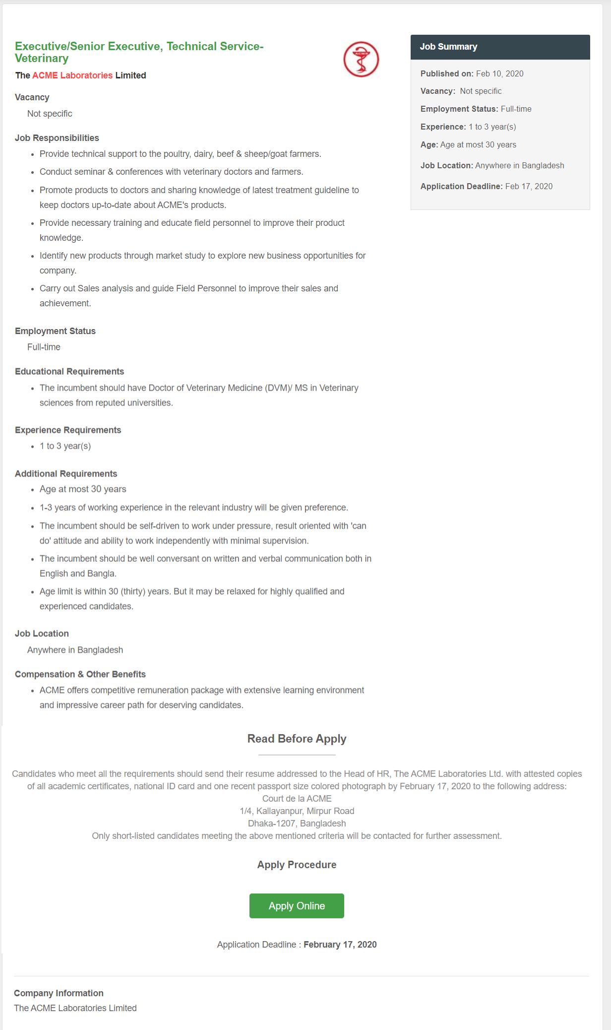ACME Laboratories Job Circular 2020