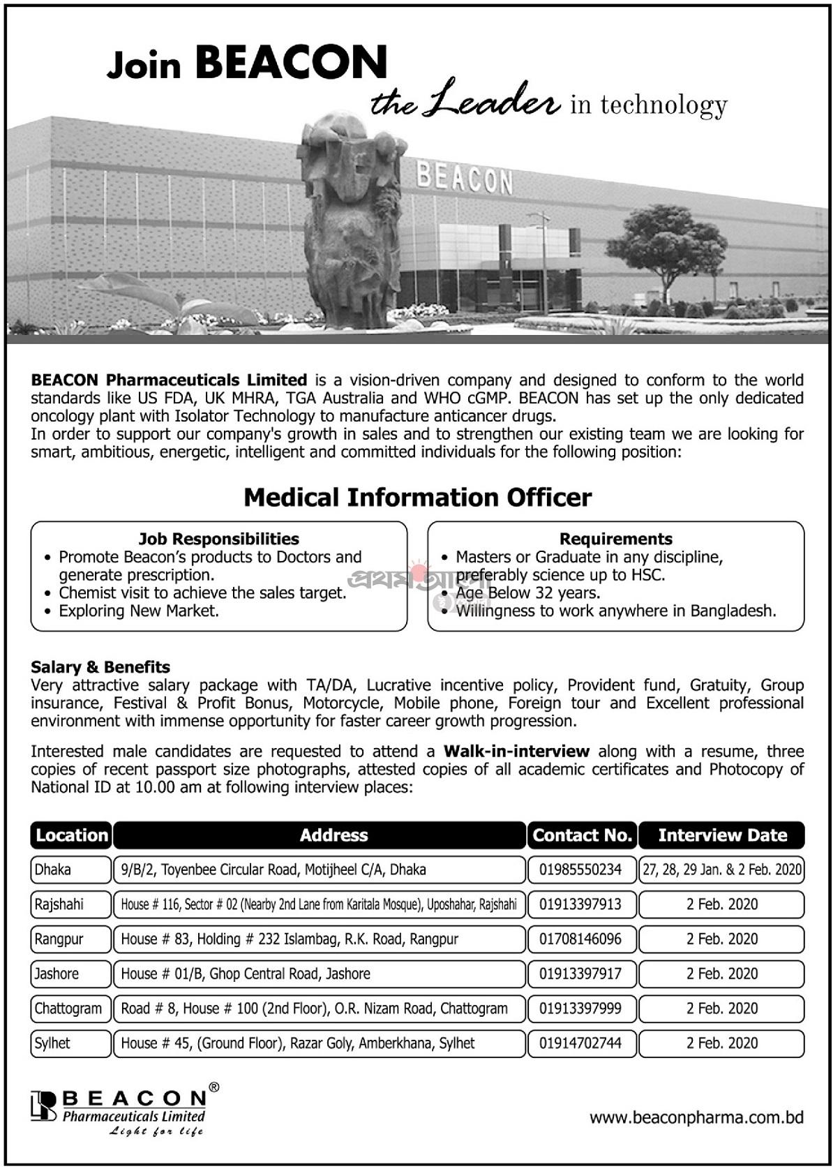 BEACON Pharmaceuticals Limited Job Circular 2020