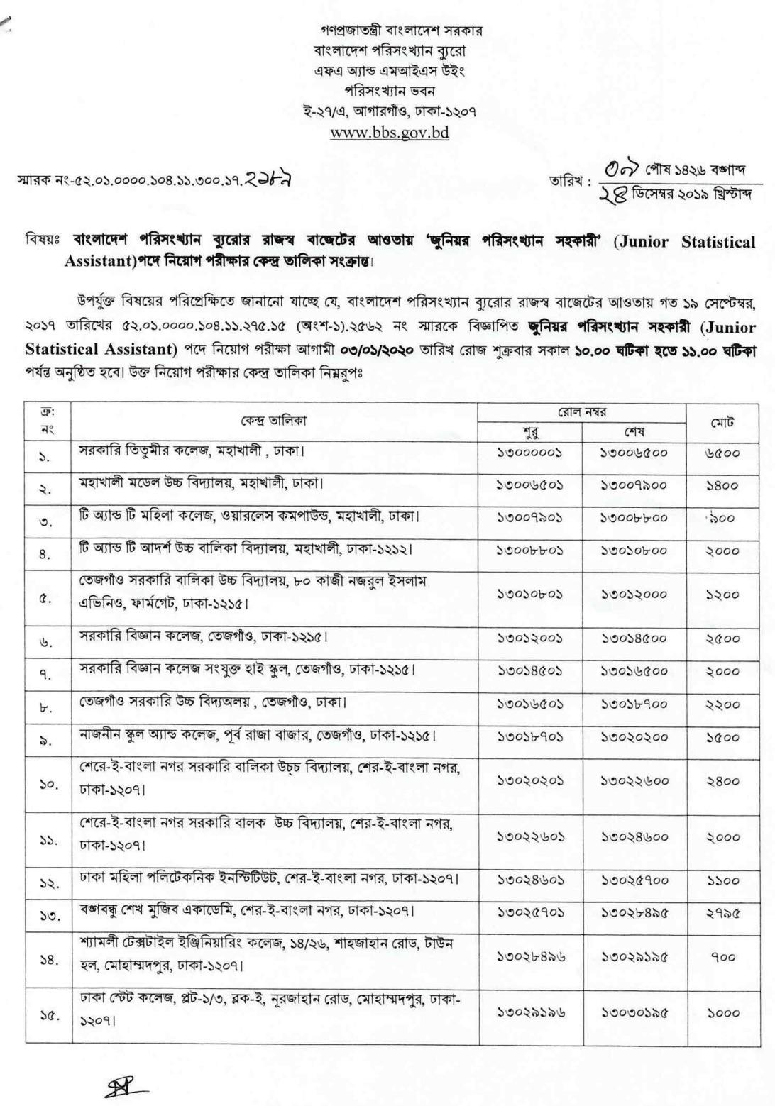 Bangladesh Bureau of Statistics (BBS) Exam Notice 2020