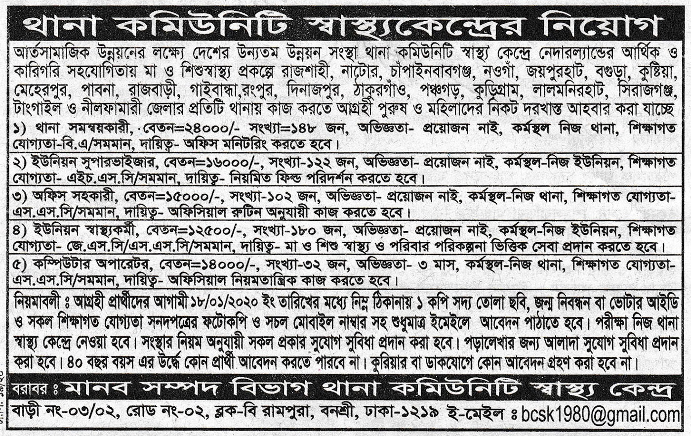 Bangladesh Community Health Center Job Circular 2020