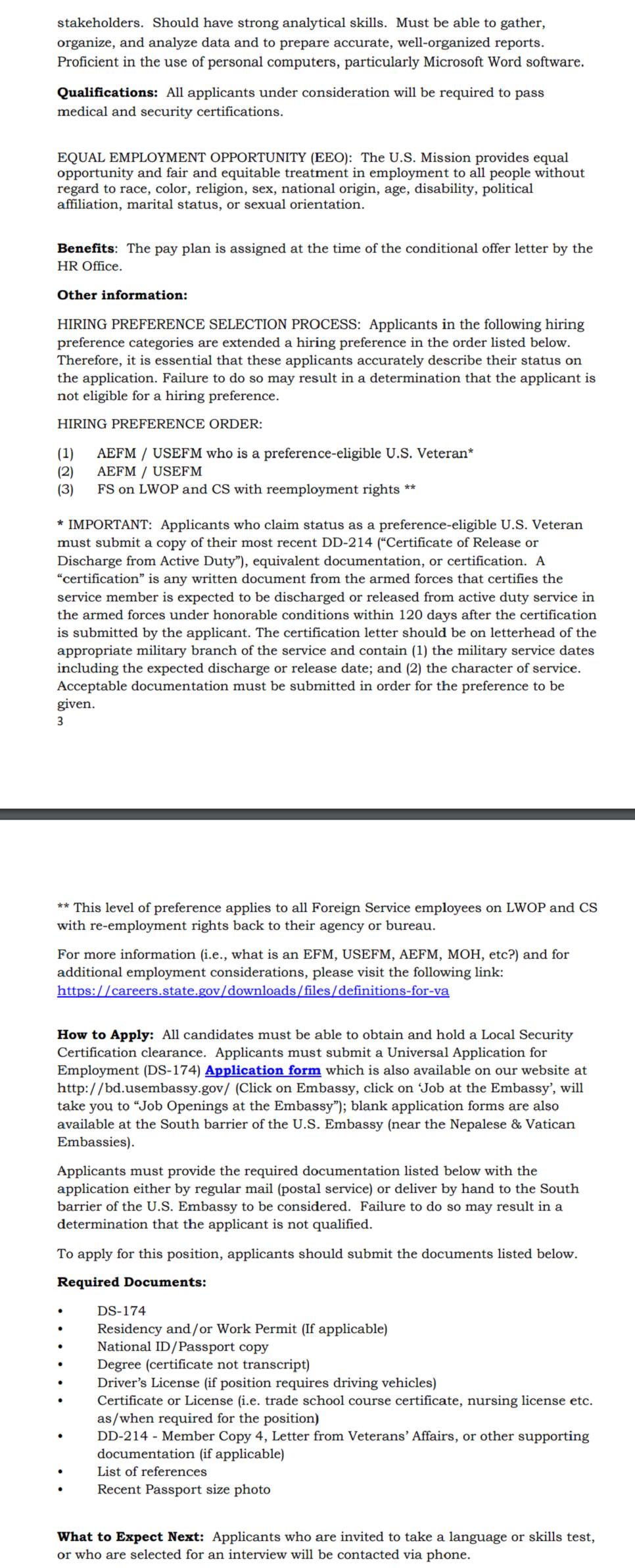 Bangladesh US Embassy job Circular 2020