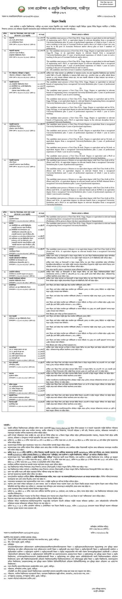 Bangladesh University of Engineering and Technology (BUET) Job Circular 2020