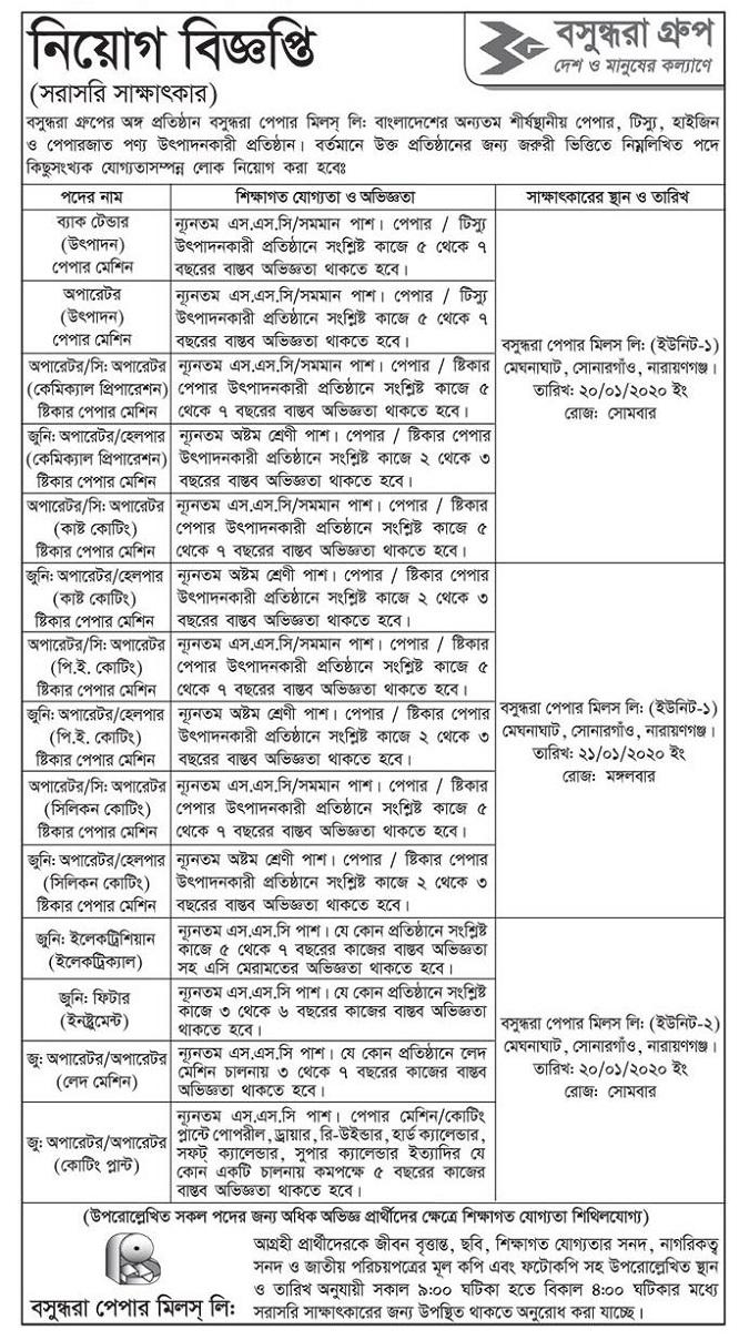 Bashundhar Paper Mills Ltd Job Circular 2020