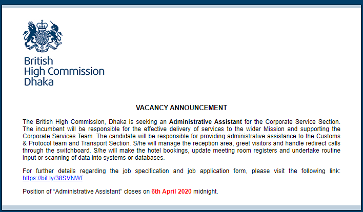 British High Commission Job Circular 2020