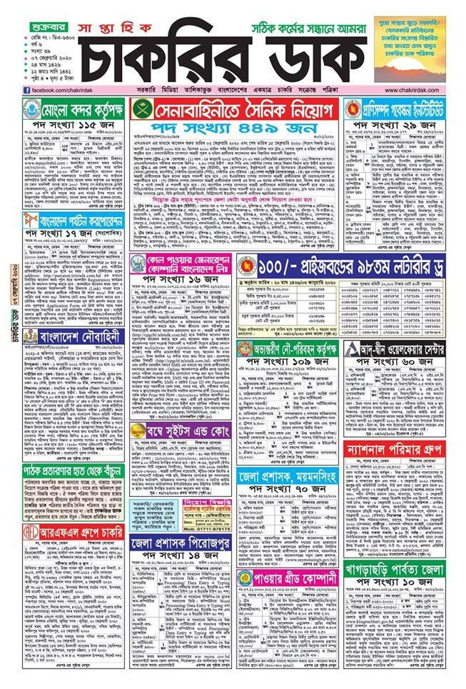 Chakrir Dak Weekly Jobs Newspaper 7 February 2020