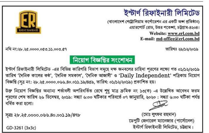Eastern Refinery Limited Job Circular