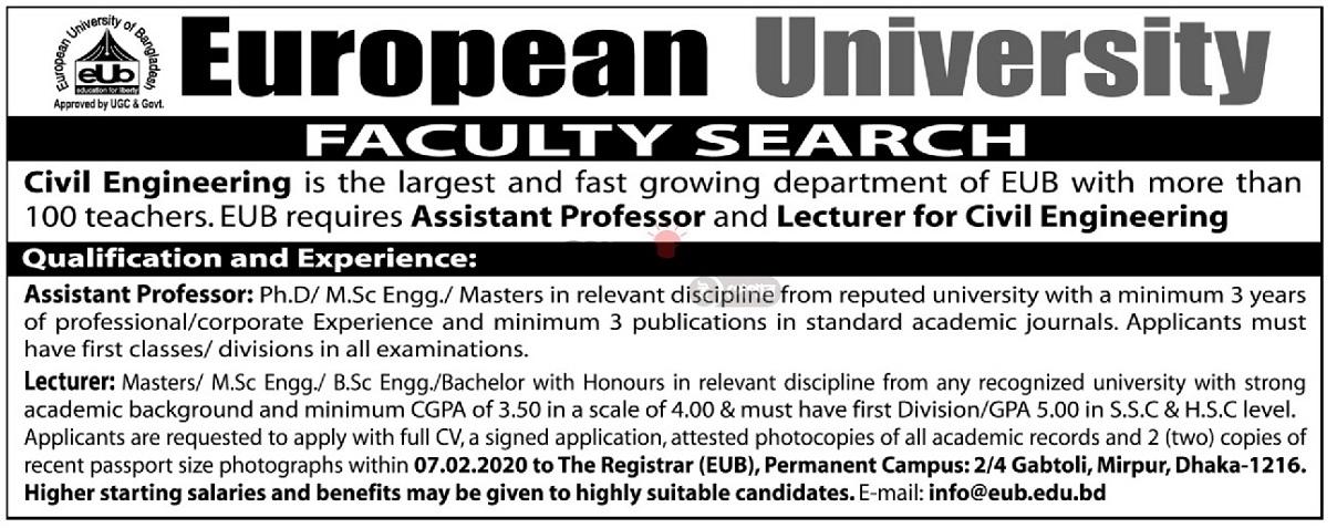European University of Bangladesh (EUB) Job Circular 2020