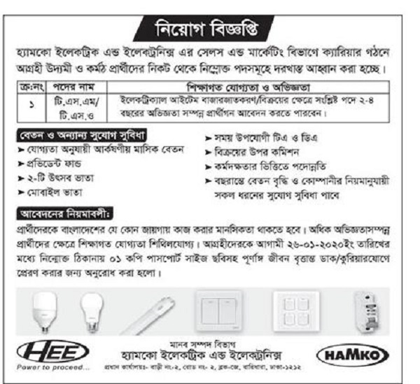 HAMKO Electric & Electronics job circular 2020