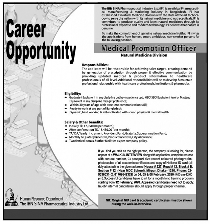 IBN SINA Pharmaceutical Job Circular 2020