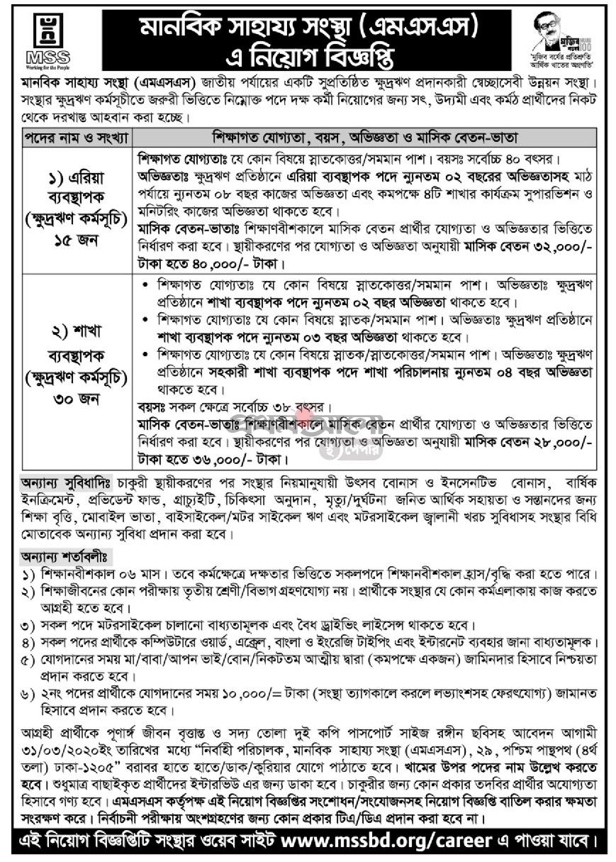 Manabik Shahajya Sangstha (MSS) Job Circular 2020