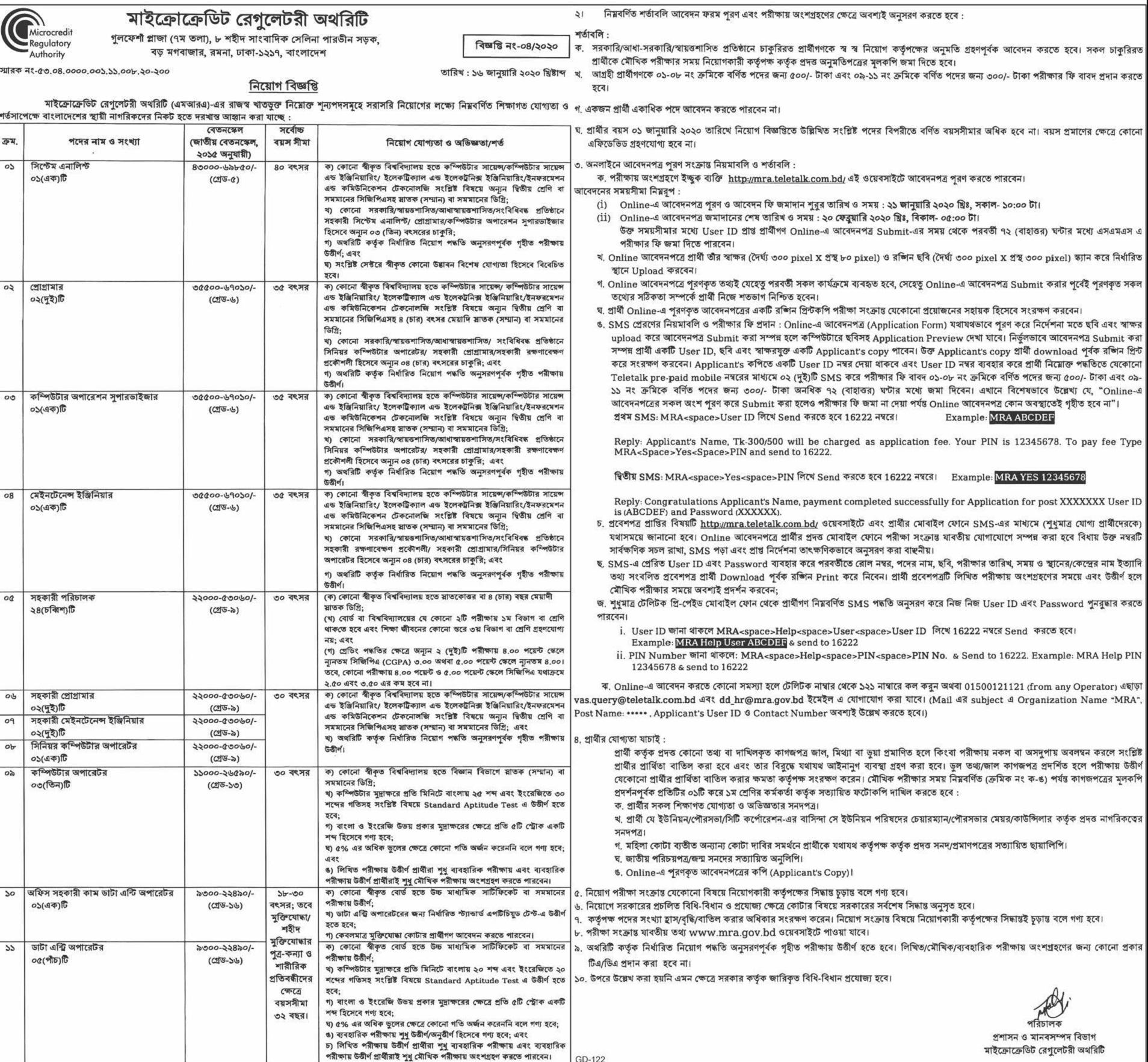 Microcredit Regulatory Authority (MRA) Job Circular 2020