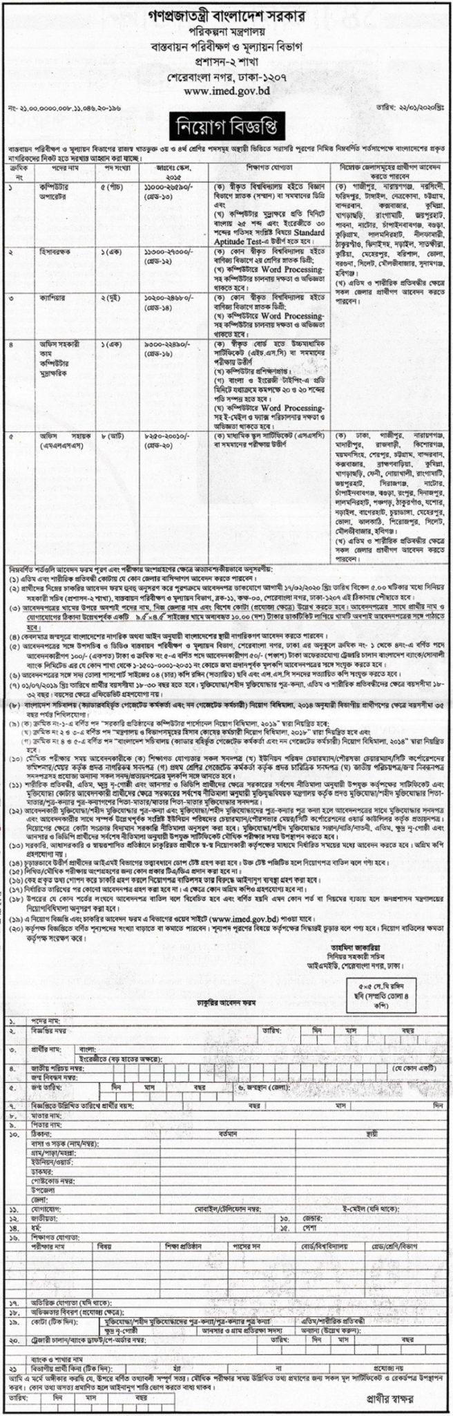 Ministry of Planning Job Circular 2020