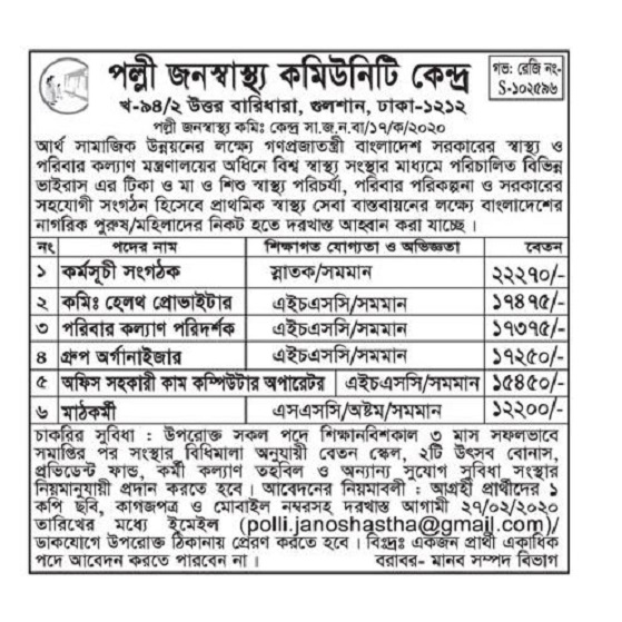 Rural Health Community Center Job Circular 2020