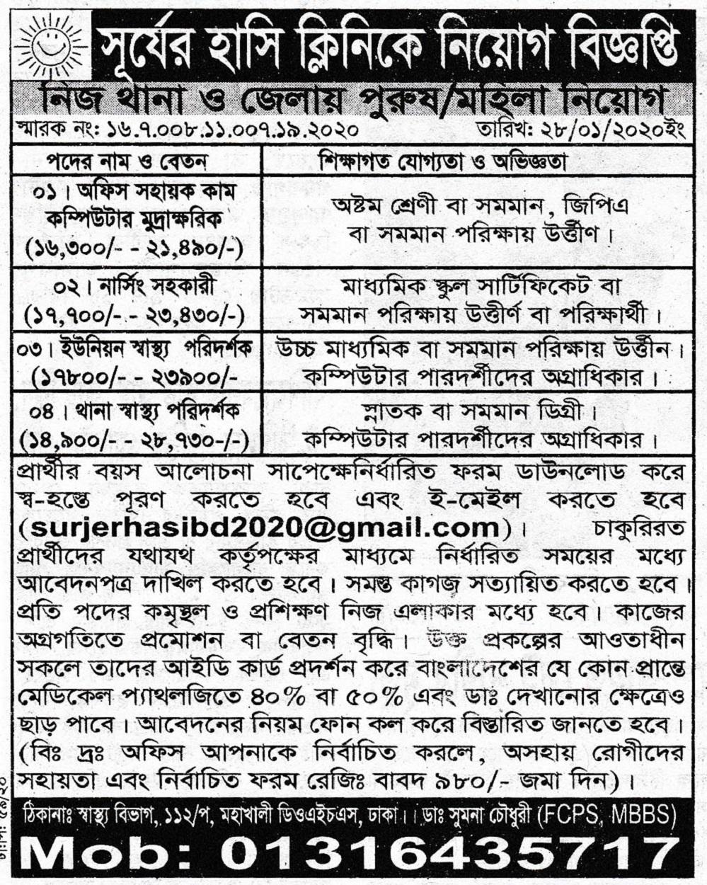 Surjer Hashi Clinic Job Circular 2020