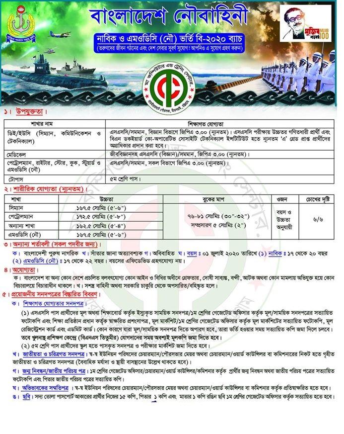 Bangladesh Navy Job Circular 2020