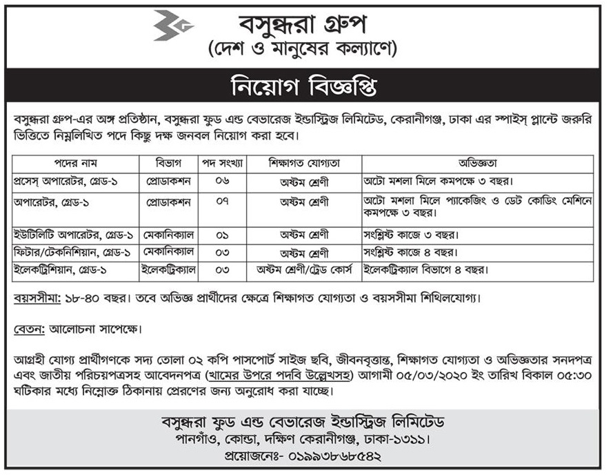 Bashundhara Group Job Circular 2020