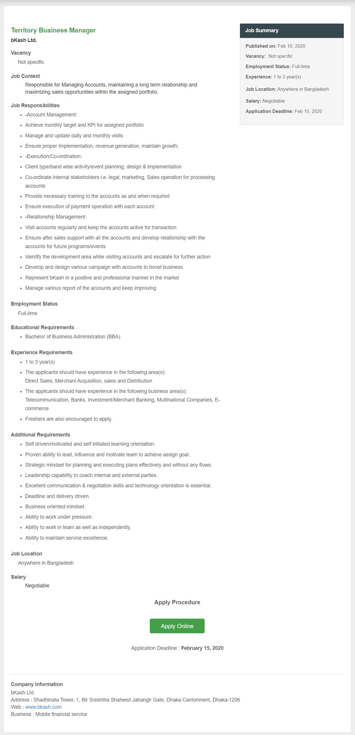 Bkash Limited Job Circular 2020