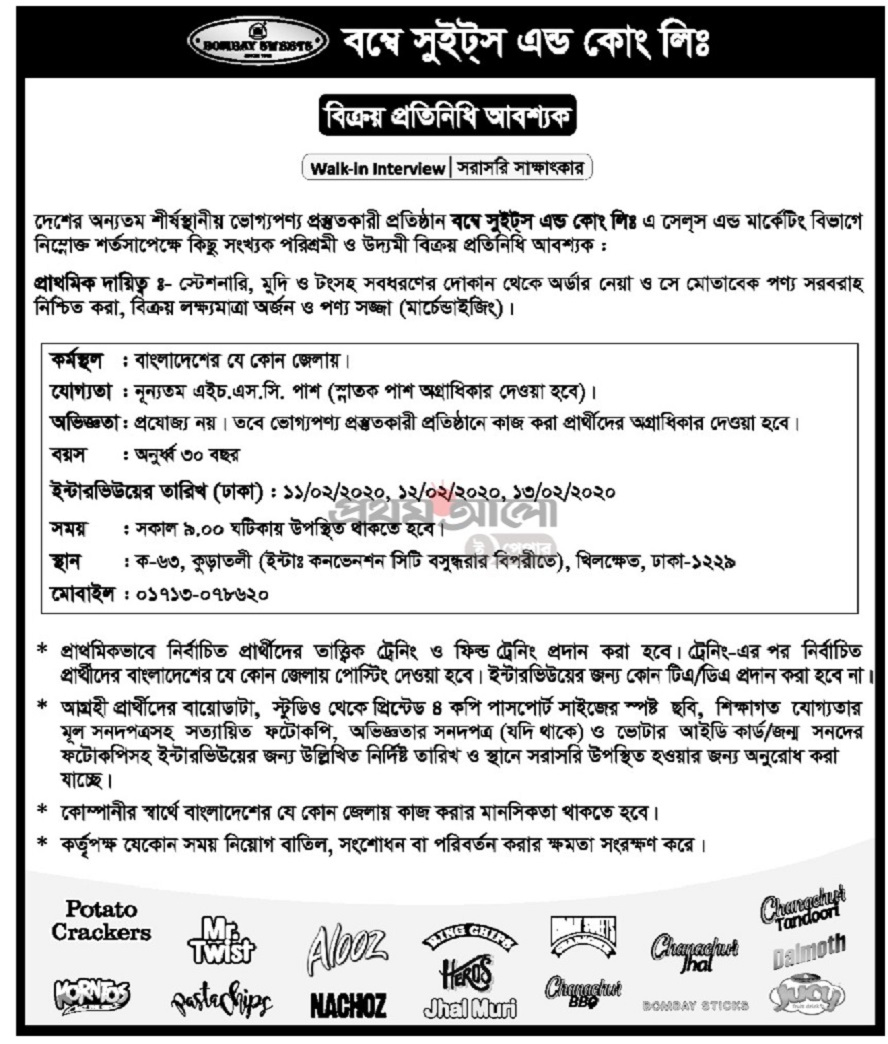 Bombay Sweet Job Circular 2020