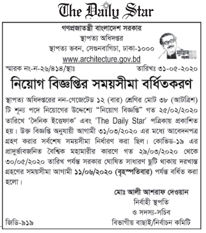 Department of Architecture Job Circular 2020