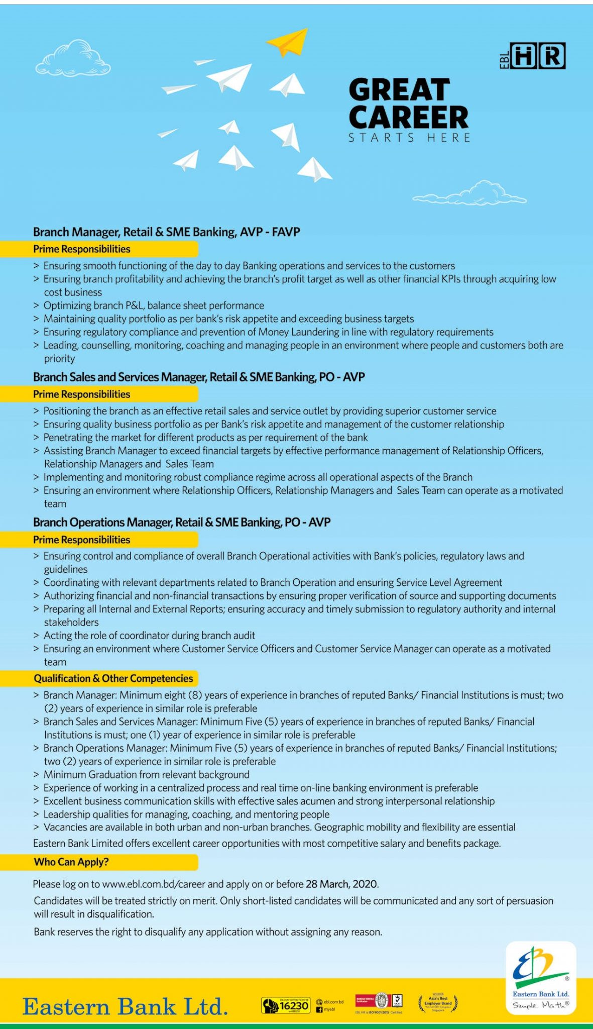 Eastern Bank Limited Job Circular 2020