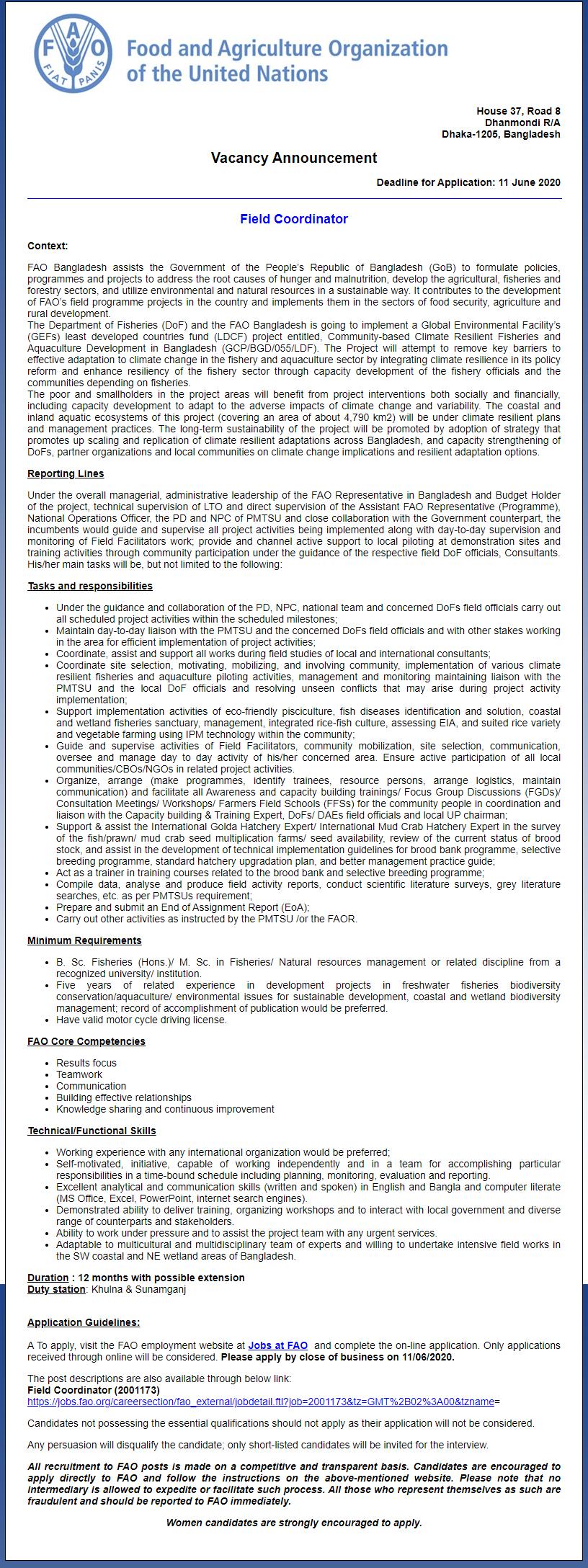 Food and Agriculture Organization (FAO) Job Circular 2020