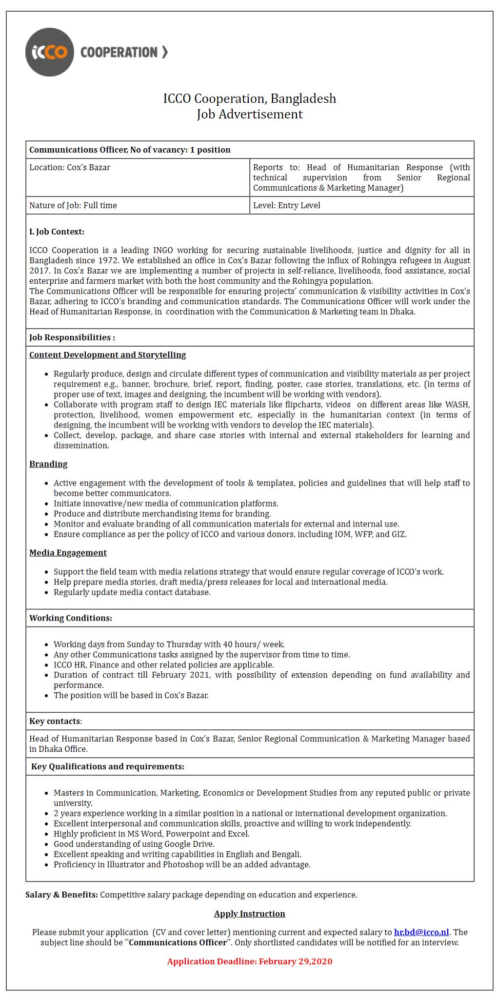 ICCO Cooperation Job Circular 2020