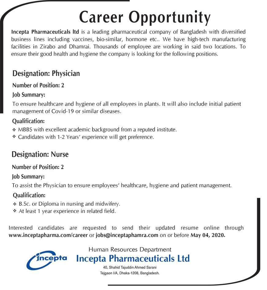 Incepta Pharmaceuticals Limited Job Circular 2020