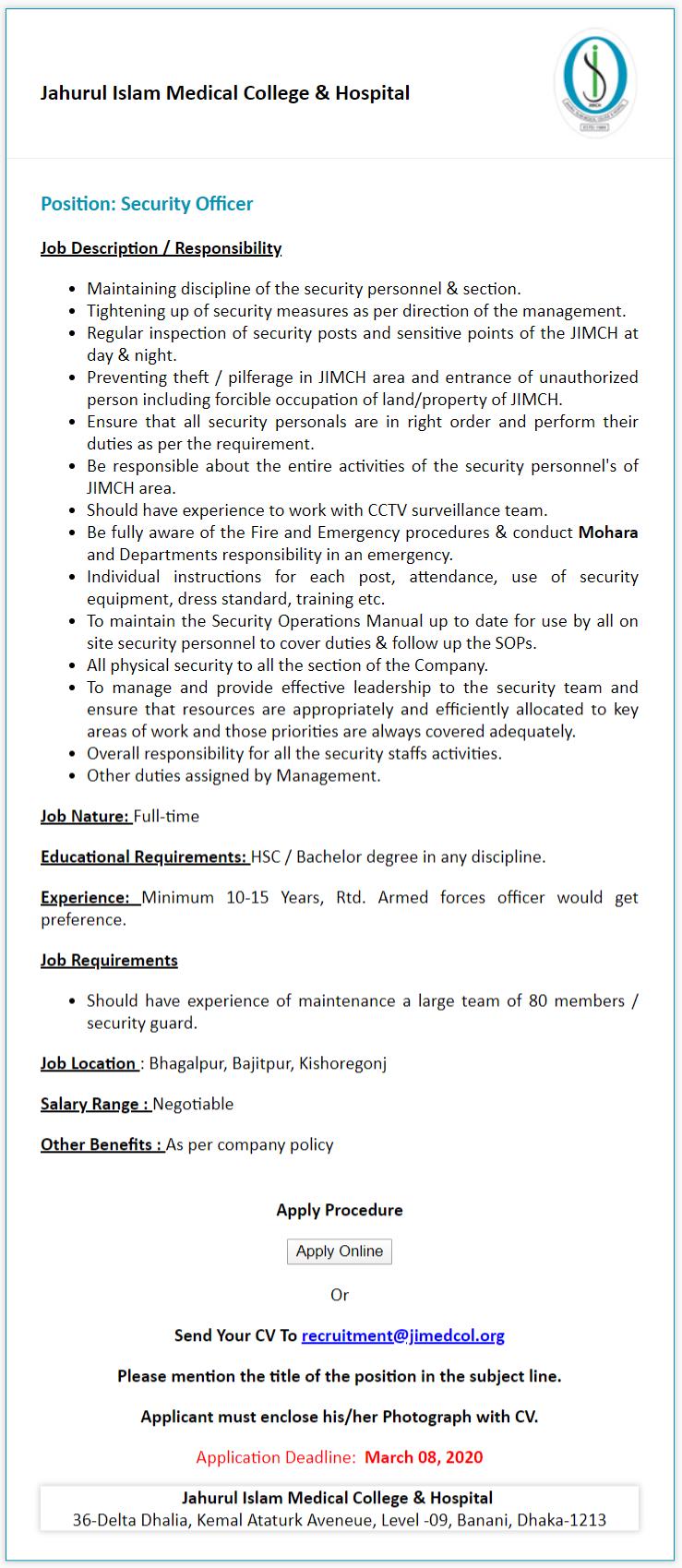 Jahurul Islam Medical College & Hospital Job Circular 2020