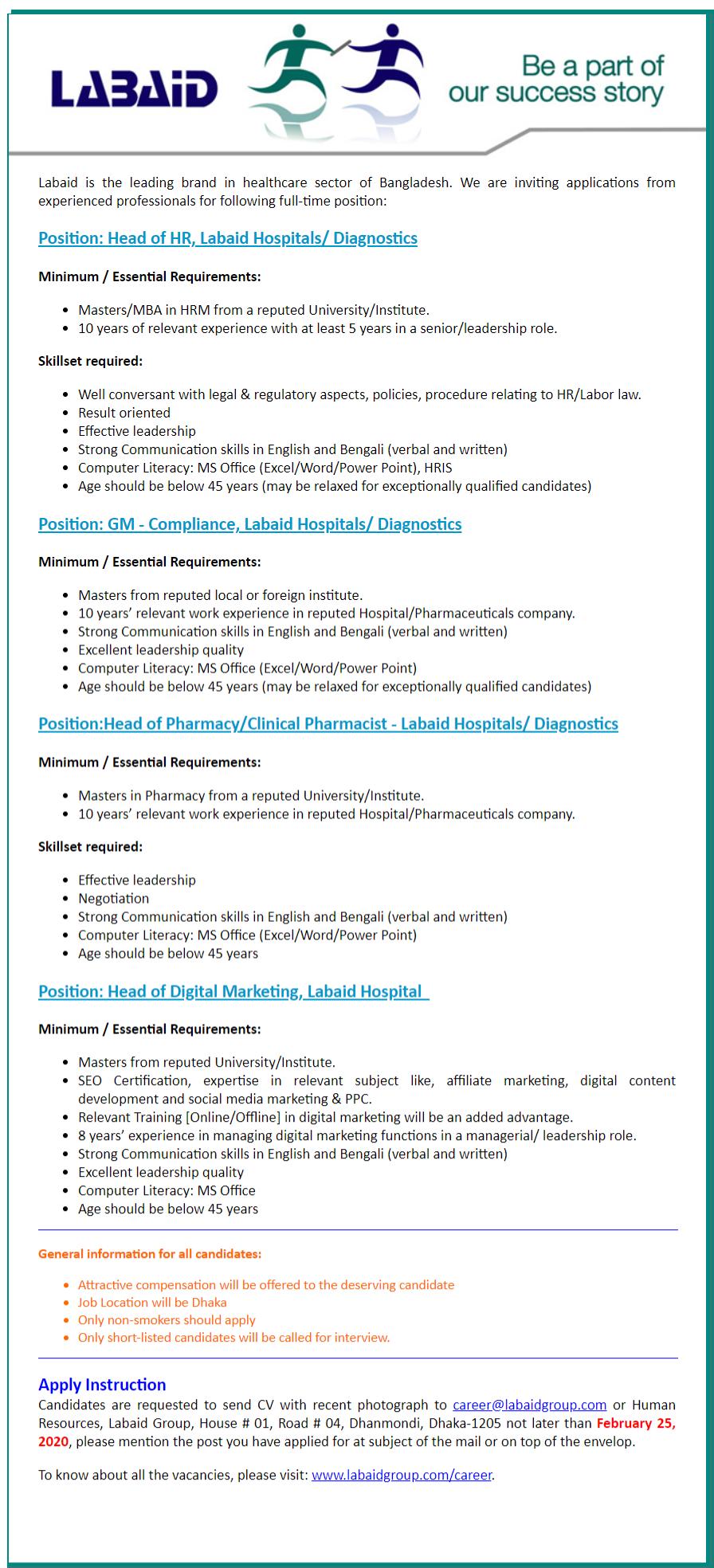 Labaid Specialized Hospital Job Circular 2020