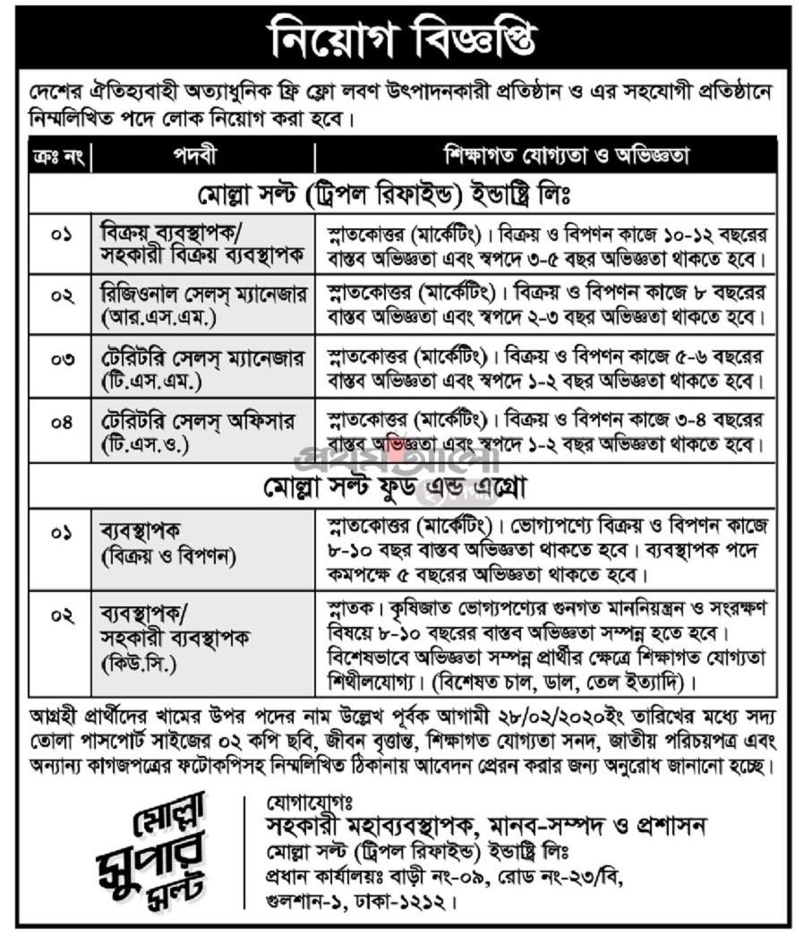 Molla Salt Industry Ltd Job Circular 2020