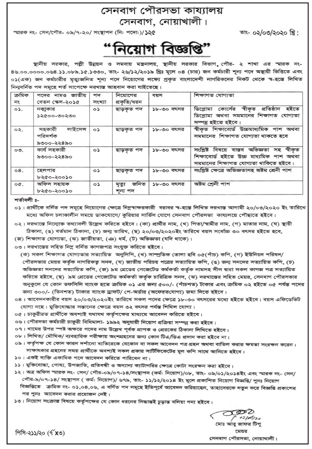 Senbagh Municipality Job Circular 2020