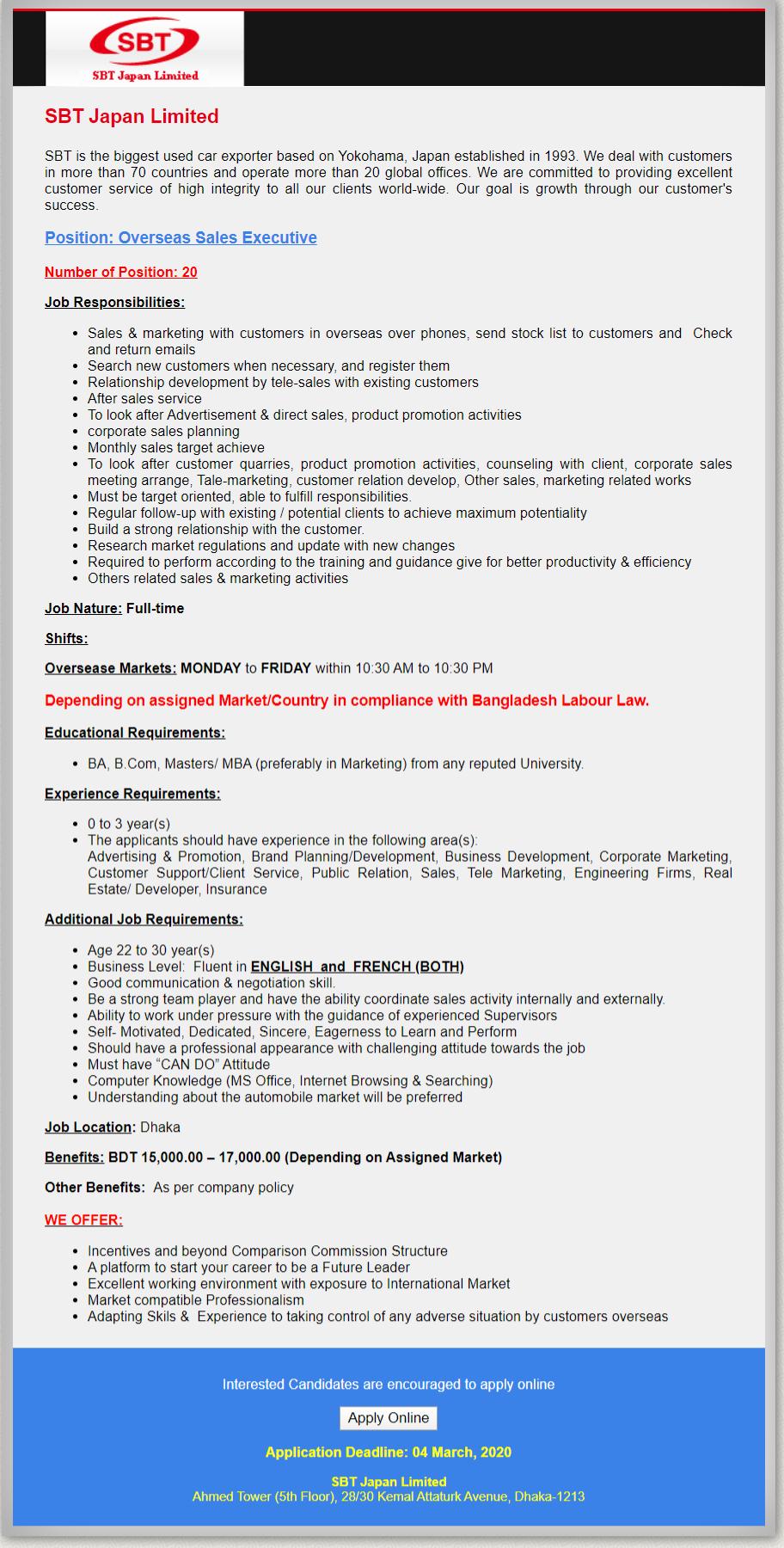 SBT Japan Limited Job Circular 2020