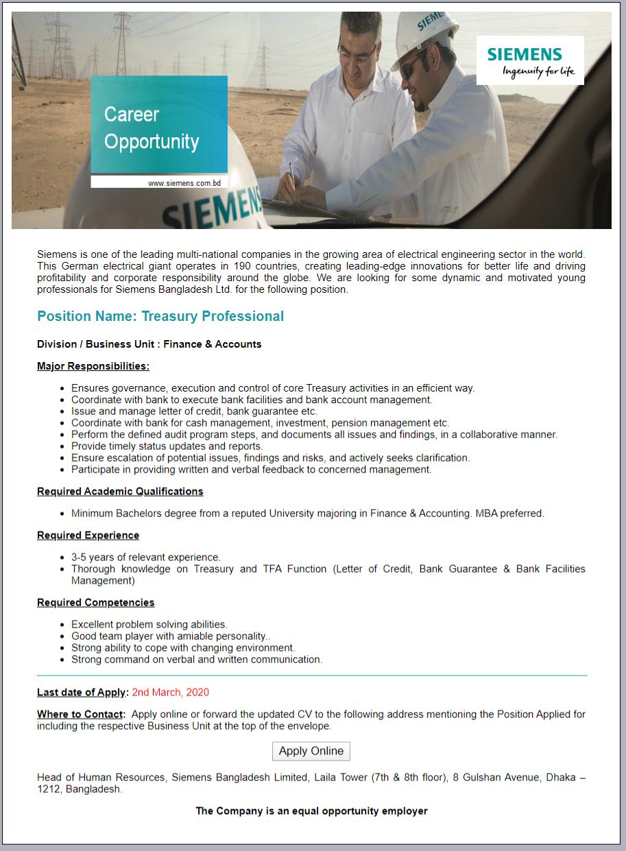 Siemens Bangladesh Limited Job Circular 2020