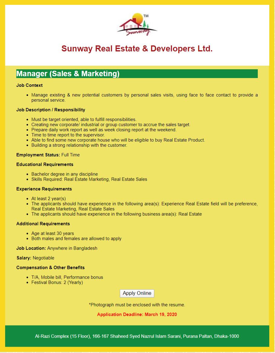 Sunway Real Estate and Developers Ltd Job Circular 2020