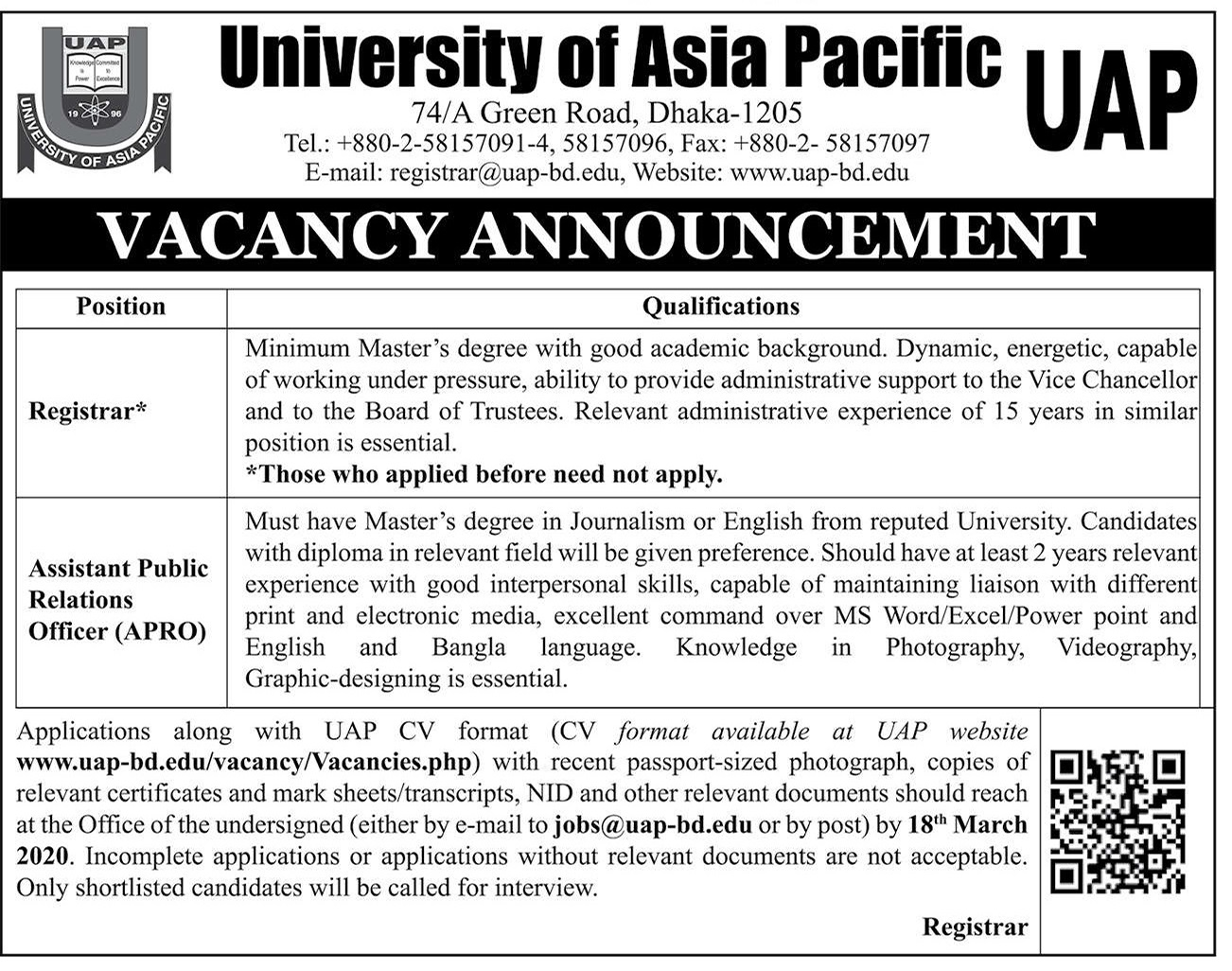 University of Asia Pacific Job Circular 2020
