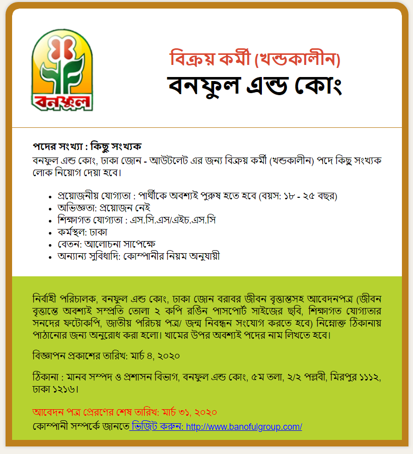 Banoful & Co Ltd Job Circular 2020