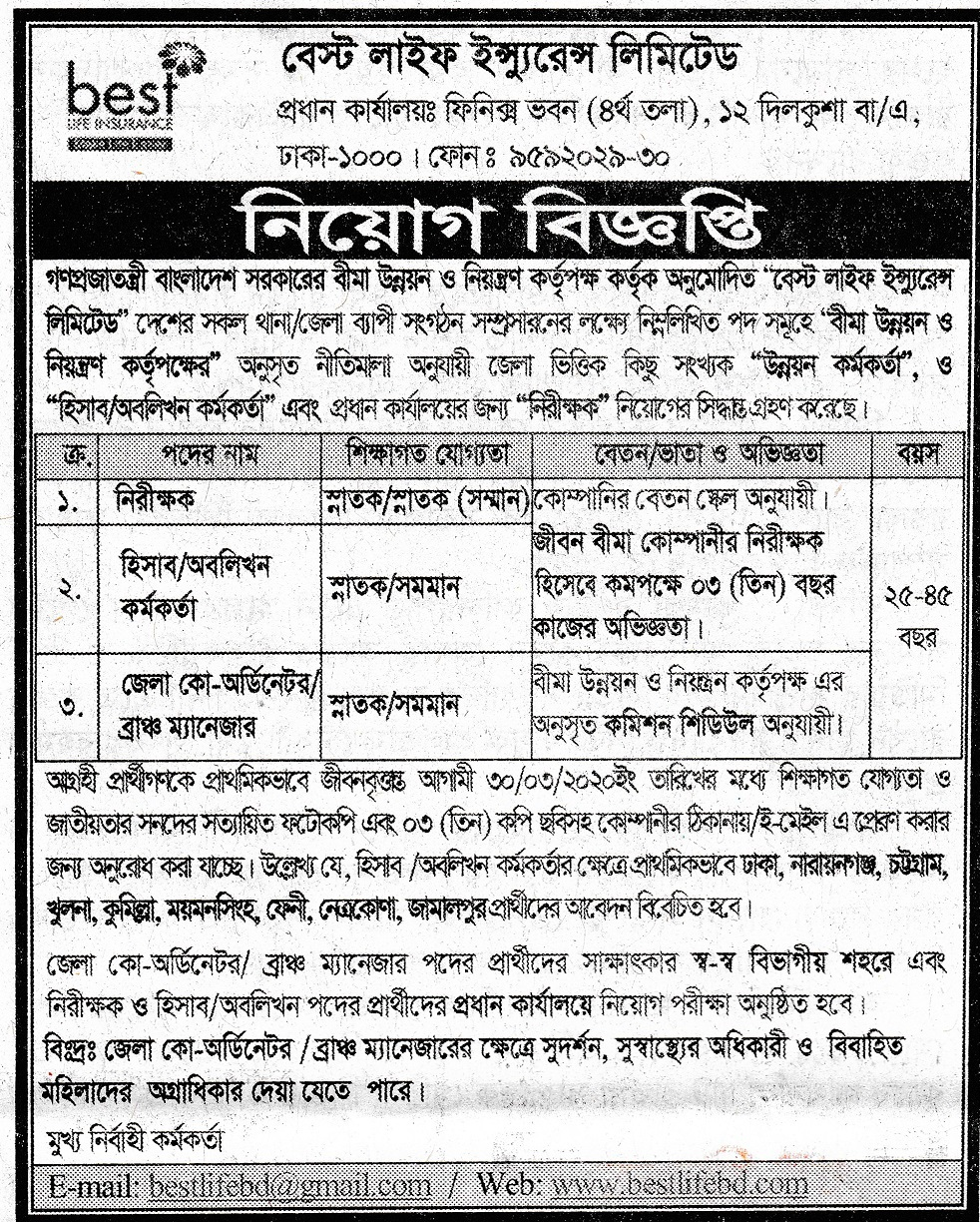 Best Life Insurance Limited Job Circular 2020