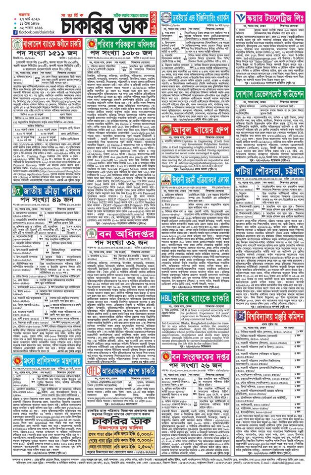 Chakrir Dak Weekly Jobs Newspaper 27 March 2020