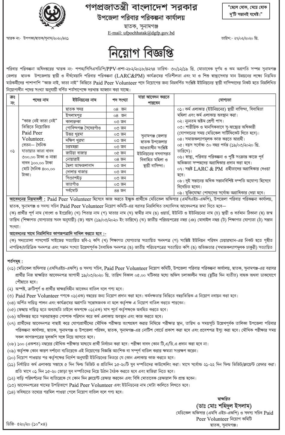 Chhatak Bazar sunamganj Upazila family planning office Job Circular 2020