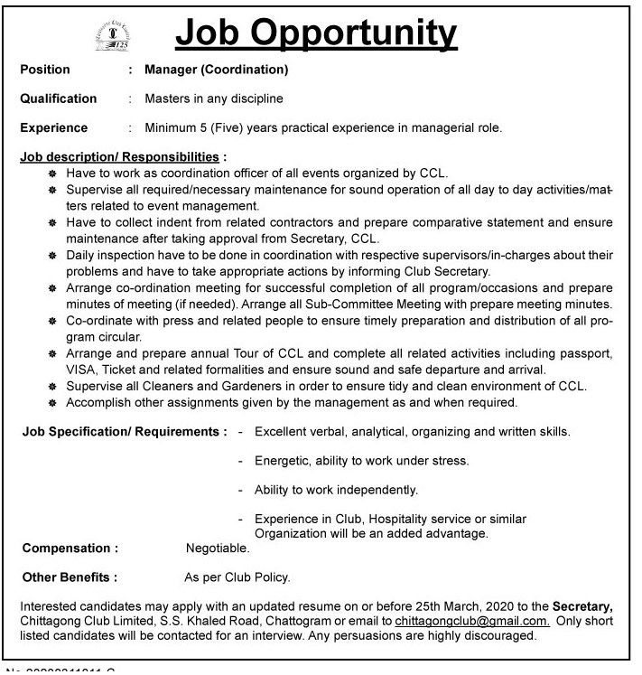 Chittagong Club Limited Job Circular 2020