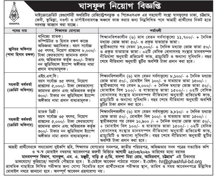 Ghashful NGO Job Circular 2020