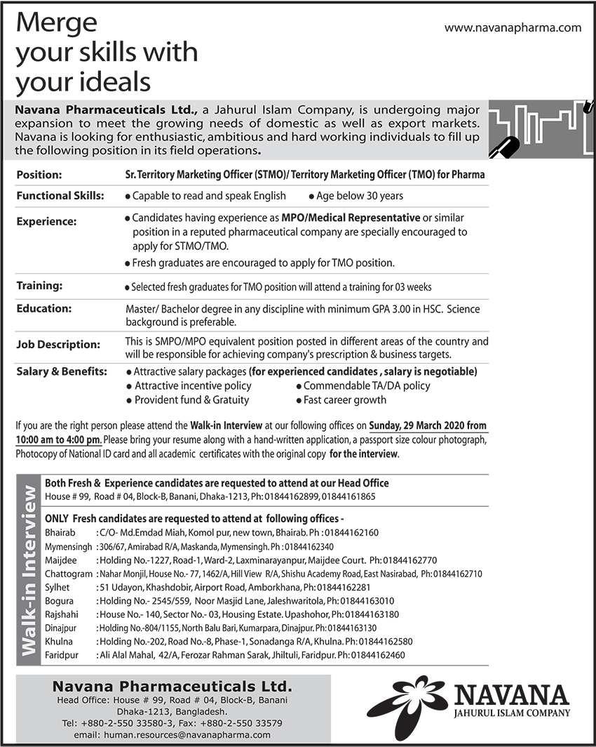 Navana pharmaceuticals ltd Job Circular 2020
