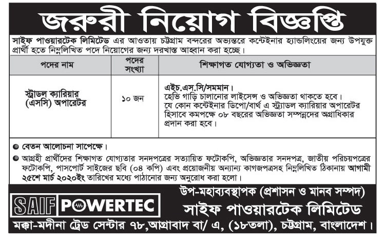 Saif Powertec Job Circular 2020