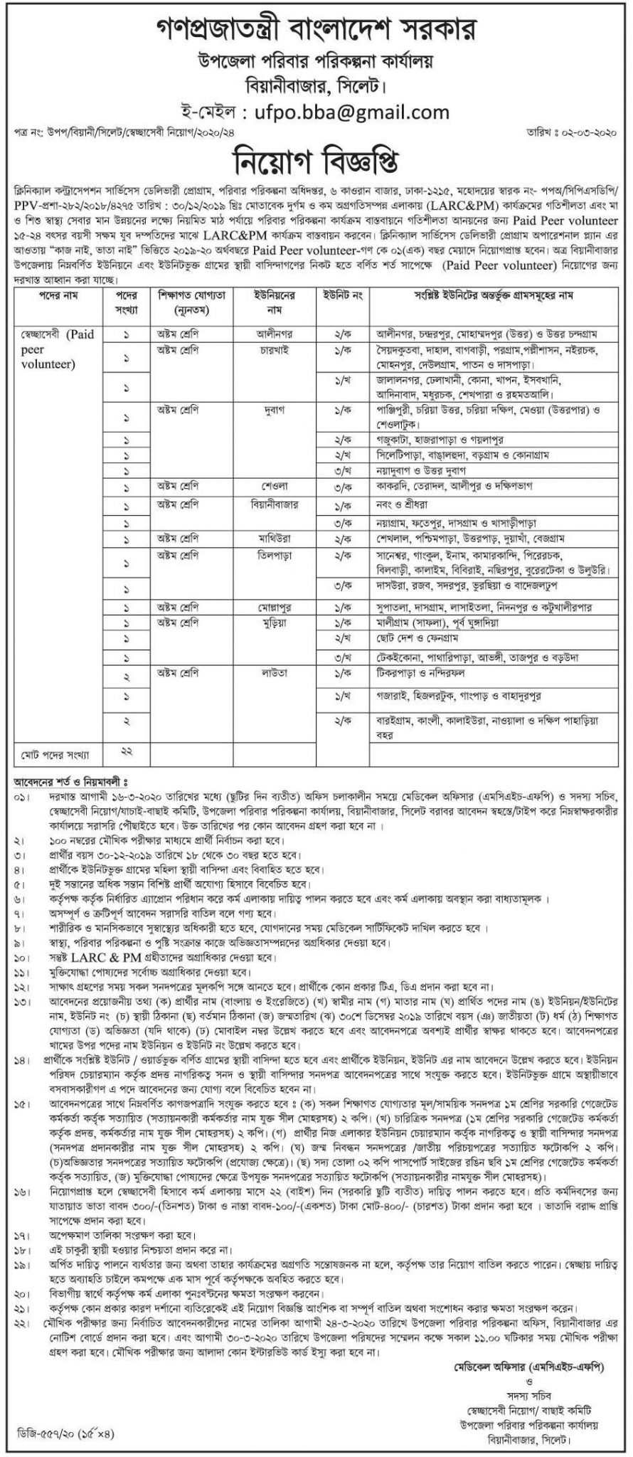 Upazila Family Planning Office Job Circular 2020